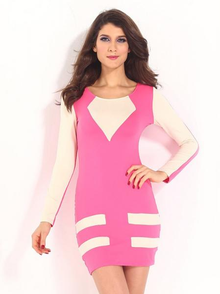 Pink Beige Ladies Contrast Color Long Sleeve High Waist Flattering Mini Casual Bodycon Dresses