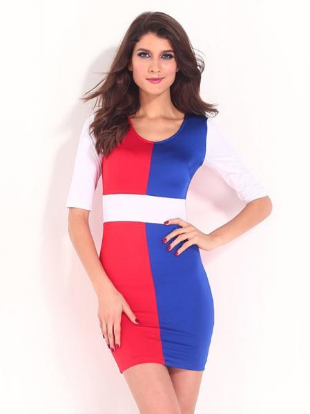 Red Blue White Lady V-neck Empire Half Sleeved Stylish Multicolor Block Tight Mini Bodycon Dresses