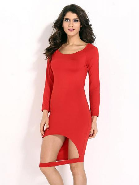 Red Scoop Neckline High Waist Midi Sexy Cutout Front Hem Long Sleeve Red Bodycon Dress