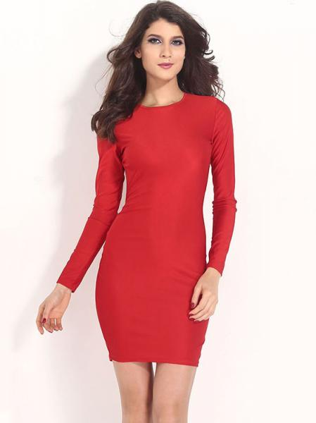 Red Cheap Sexy Hollow Out Backless Long Sleeve High Waist Midi Bodycon Dress for Women