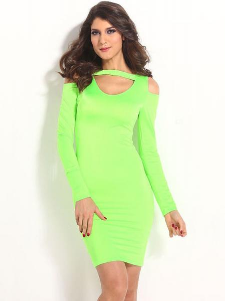 Green Ladies Green Long Sleeves High Waisted Cut Out Cold Shoulder Midi Dress Bodycon Sale