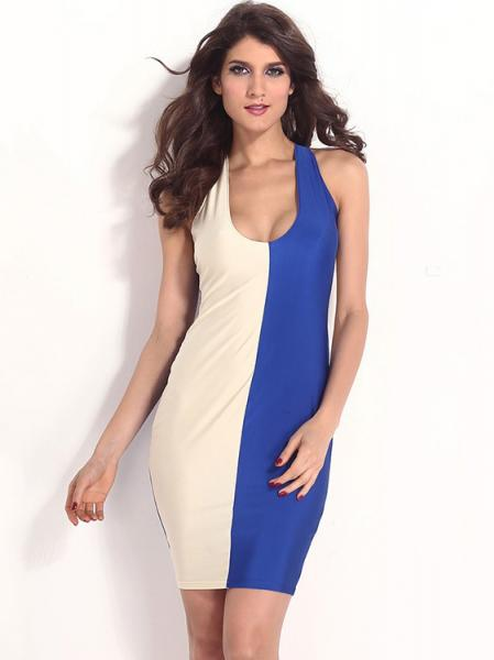 Beige Blue High Waist Sleeveless Plunging Neck Contrast Two Colors Bodycon Midi Dresses Cheap Sale
