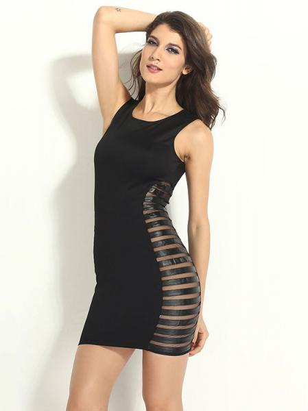 Black Newest Tank Style Sleeveless Sexy Side Striped Mesh Bodycon Mini Dresses Clubbing Sale