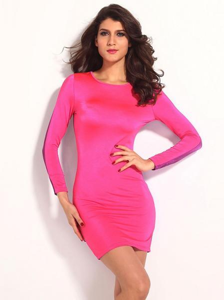 Pink Purple Vintage Three Quarter Sleeve High-waist Sexy Cut Out Back Bodycon Mini Dress Online