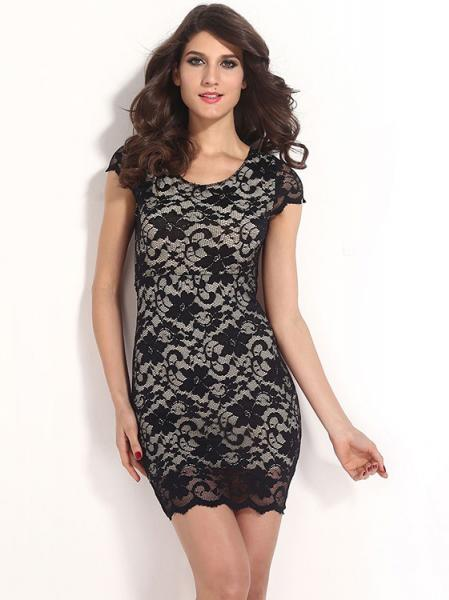 Black Women Sexy Backless Enticing Lace Surface Short Sleeved High-waist Midi Bodycon Dress