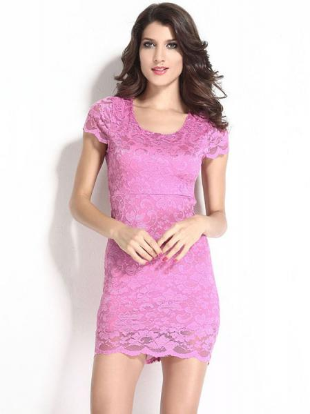 Pink Women Sexy Backless Enticing Lace Surface Short Sleeved High-waist Midi Bodycon Dress