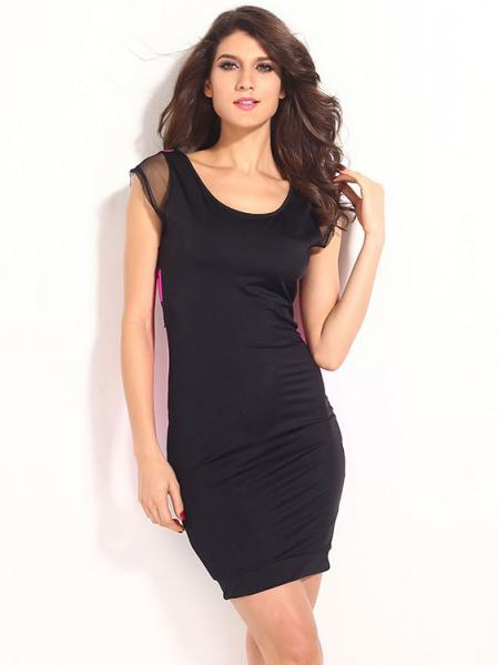 Black Rosy High Waist Short Sleeved Contrast Color Sexy Hollow Out Mesh Back Bodycon Mini Dress