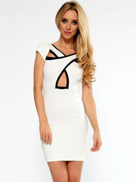 White Cheap Womens Hollow Out Cross Over Front Short Cap Sleeved Mini Length Sheath Party Dress