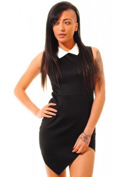 Black Fashionable Contrasting Collared Asymmetrical Hem Sleeveless Mini Bodycon Dresses Online