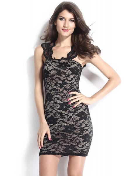 Black Vintage Nude Illusion Sleeveless Floral Lace Surface Contrast Color Bodycon Mini Dress
