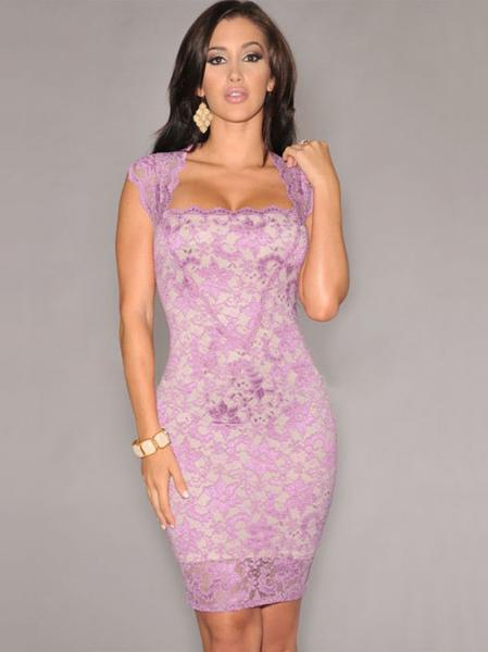 Pink Vintage Nude Illusion Sleeveless Floral Lace Surface Contrast Color Bodycon Mini Dress