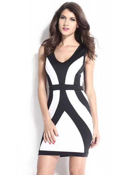 White Black 2015 Black White Thick Straps Sleeveless Curvy Lines Bodycon Mini Dress for Women Online