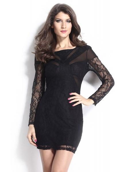 Black Chic Long Sheer Floral Sleeves Mesh Hollow Out High Waisted Black Mini Bodycon Dress
