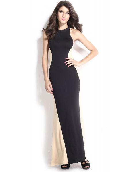 Black Beige Floor Length High Waisted Sleeveless Swerve Halter Ruched Sheath Maxi Dress for Women