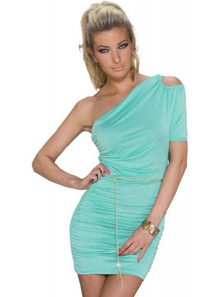 Mint Sexy Cut Out One Shoulder Plicated Ruched Bodycon Mini Dress with Metallic Sashes