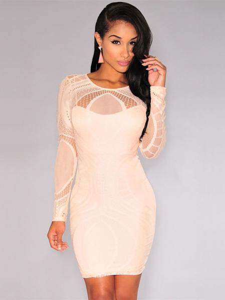 Apricot Sexy High Waist Nude Illusion Long Sleeved Lace Hollow Out Bodycon Mini Dress Apricot