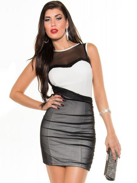 Black White Sexy Ladies Sleeveless Mesh Insert High Wasited Sequined Bodycon Short Mini Dresses
