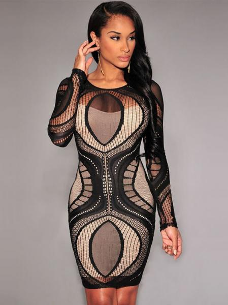 Black Sexy High Waist Nude Illusion Long Sleeved Lace Hollow Out Bodycon Mini Dress Apricot