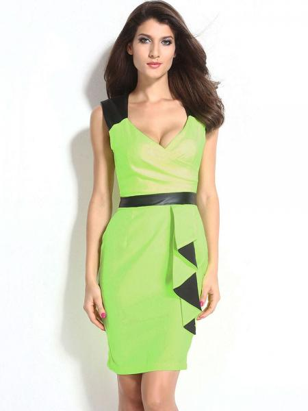 Green Empire Sleeveless Bodycon Midi Length Ladyies Dresses With Waterfall Details