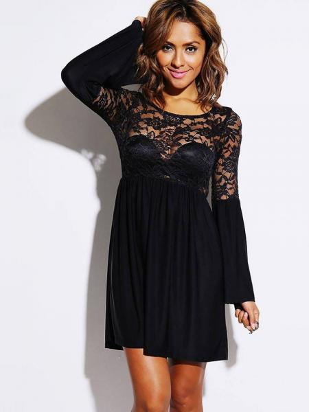 Black Long Flare Sleeves Pleated Skater Dress With Sheer Lace & Ruched Details