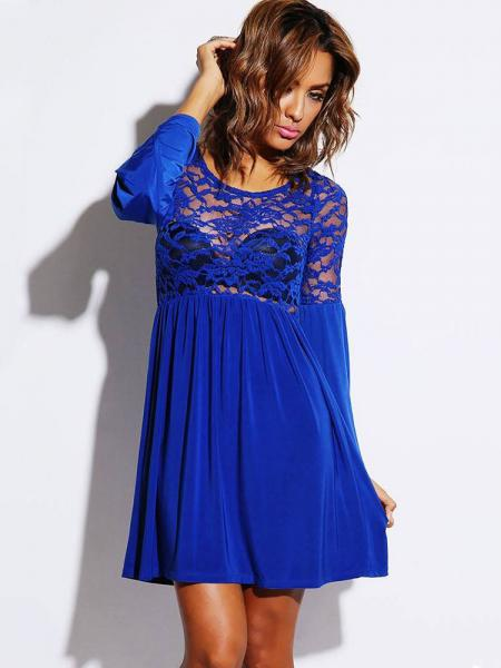 Blue Long Flare Sleeves Pleated Skater Dress With Sheer Lace & Ruched Details