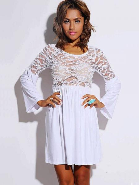 White Long Flare Sleeves Pleated Skater Dress With Sheer Lace & Ruched Details