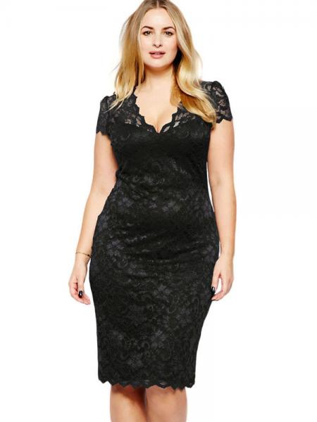Black High-waist Scalloped V-neck Short Sleeve Fully Lined Hollow Out Midi Plus Size Lace Dresses