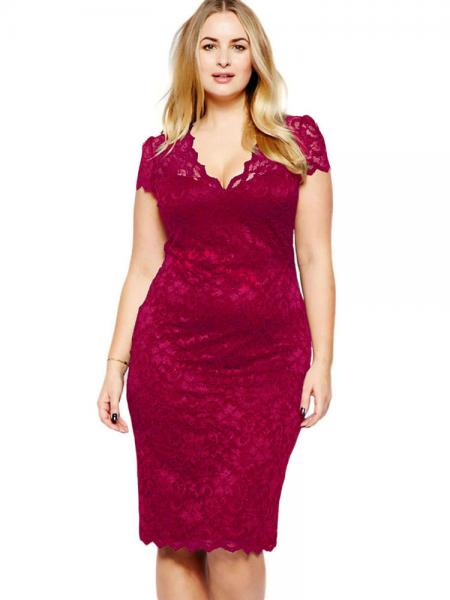 Burgundy High-waist Scalloped V-neck Short Sleeve Fully Lined Hollow Out Midi Plus Size Lace Dresses