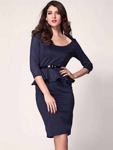 Navy High Waist Three Quarter Sleeved O-neck Ruffles Peplum Skintight Midi Dresses With Waistband