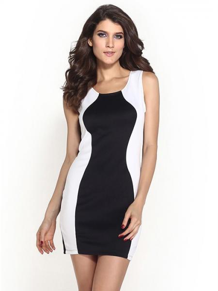 Black White High Waisted Patched Sides Black White Splice Sleeveless Skinny Mini Dress