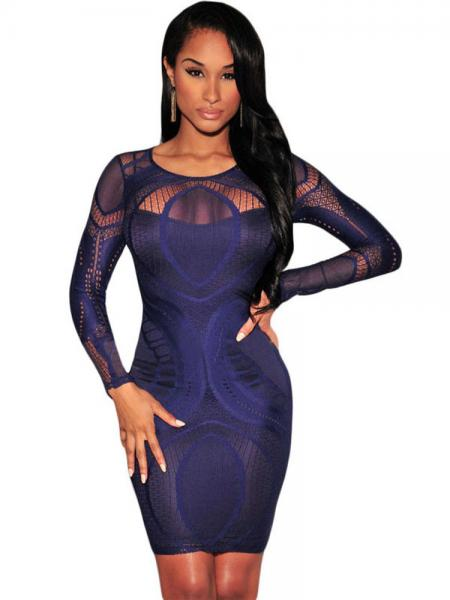 Navy Sexy High Waist Nude Illusion Long Sleeved Lace Hollow Out Bodycon Mini Dress Apricot