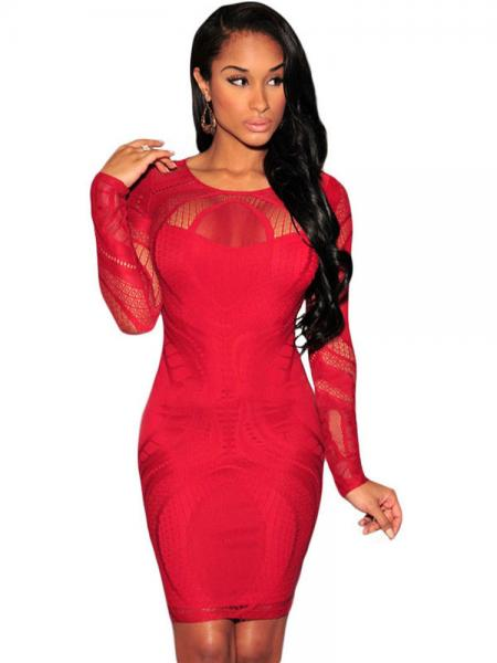 Red Sexy High Waist Nude Illusion Long Sleeved Lace Hollow Out Bodycon Mini Dress Apricot