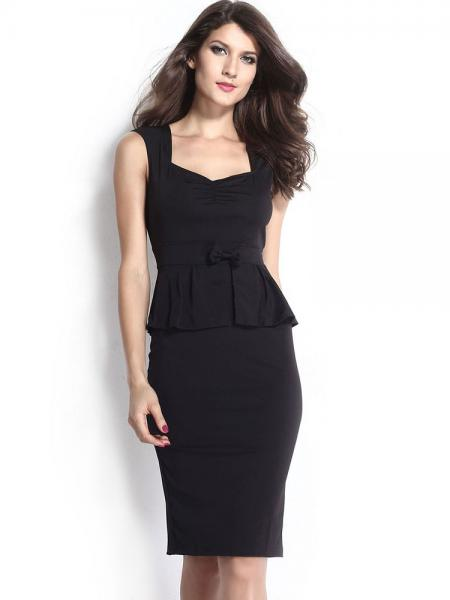 Black Black Sleeveless Ruched Chest High Waisted Bow Ruffles Waistline Midi Peplum Dresses Ladies