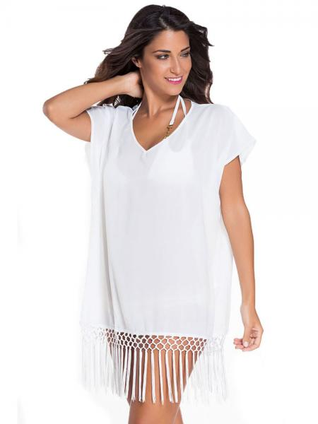 46979b577d ... White Kimono Style Short Sleeves Kaftan Beach Wear with Crochet Fringe  Hemline Sale ...