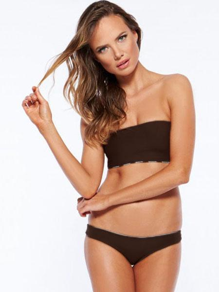 Brown Lady Low Waisted Strapless Padded Adjustable Bandeau Bikini Suits for Sale
