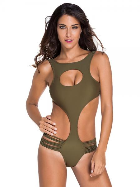 Olive Sexy Lacing-up Back One Piece Monikini Swimswear with Hollow Out & Straps Detail