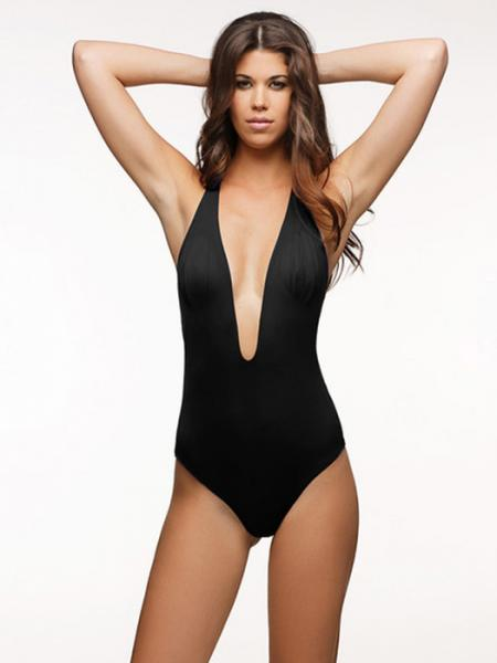 Black Sexy Plunging V-neck Padded One Piece Monokini Swimsuit with Hollow Out T Back