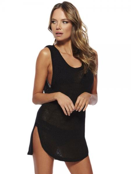 Black Sleeveless Keyhole Mini Length Knit Bathing Suit Coverups with Slit