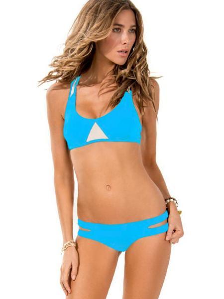 Blue White Womens Sexy 2pcs Bikini Set with Racer Style Padded Top & Cutout Bottom