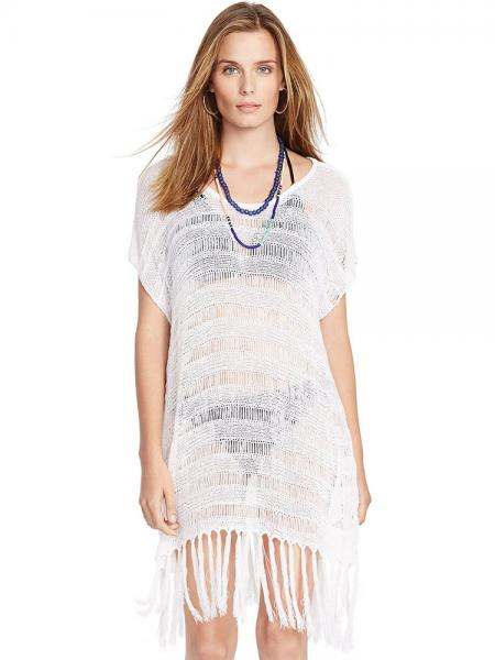 d784da4623 ... White Bohemian Inspired Short Sleeve Flirty Fringed Crochet Sheer  Poncho Coverups ...