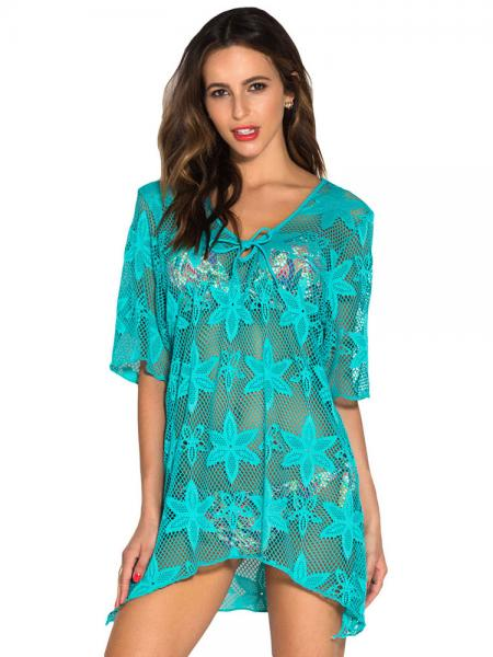 Green Embroidery Fishnet Half Sleeves High Low Cut Hem Crochet Kaftan Coverup