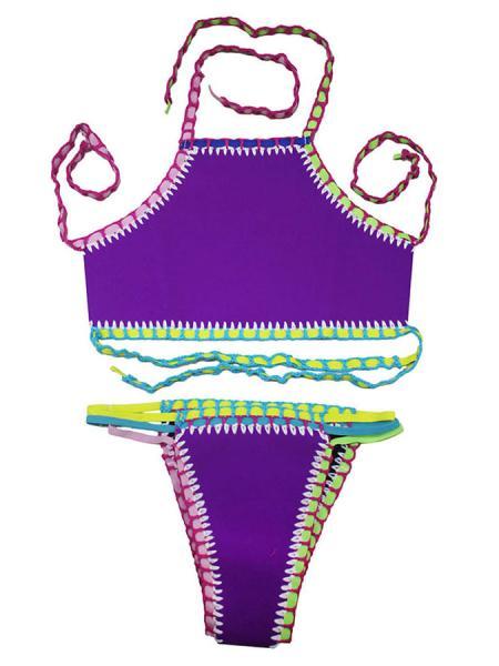 Purple Handmade Crochet-trimmed High Neck Halter Bohemian Inspired Neoprene Tankini