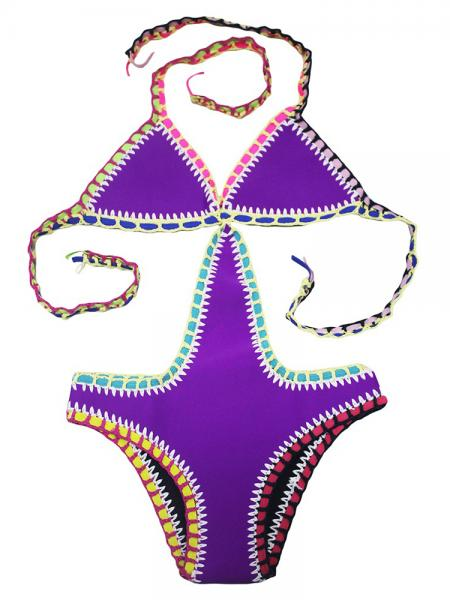 Purple Hot Handmade Adjustable Halter Neck Neoprene Crochet One Piece Swimsuit