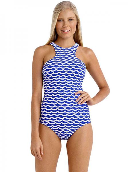 Blue White Modest Coverage Tidal Wave Printing High Neck Pullover One Piece Swimwear