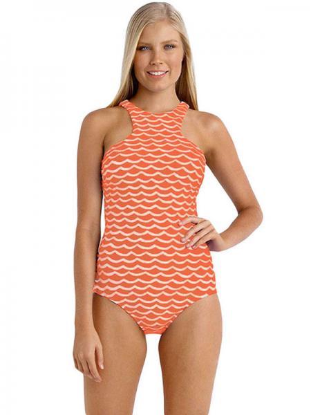 Orange White Modest Coverage Tidal Wave Printing High Neck Pullover One Piece Swimwear