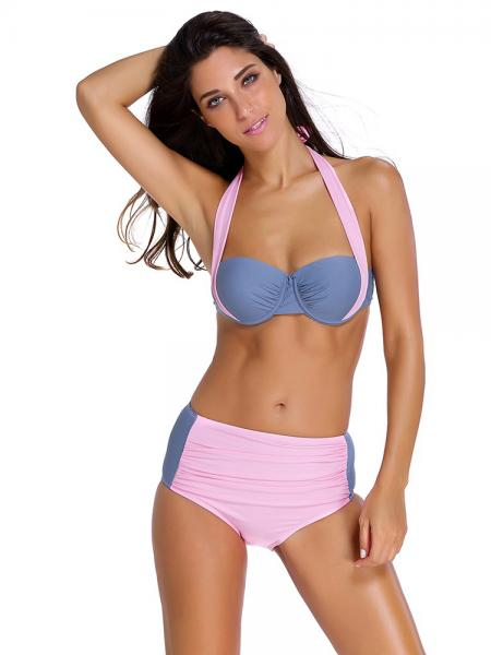 Pink Gray Stylish Color Block Bikini with Underwire & Padded Top and Ruched Bottom
