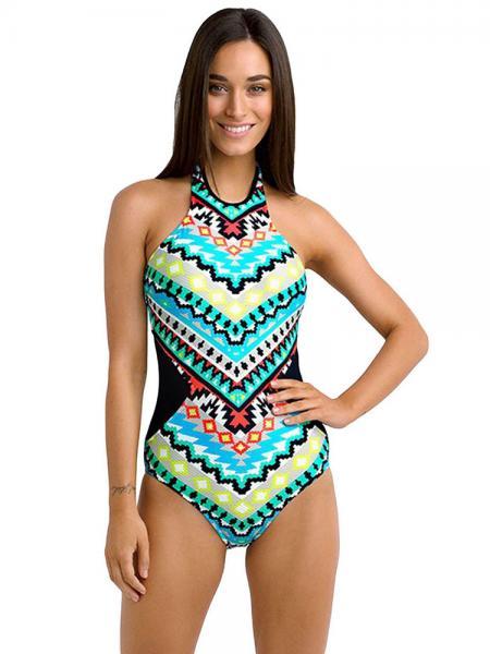 Neon Tribal Pattern Print High Neckline Padded Halter Cutout One Piece Swimwear