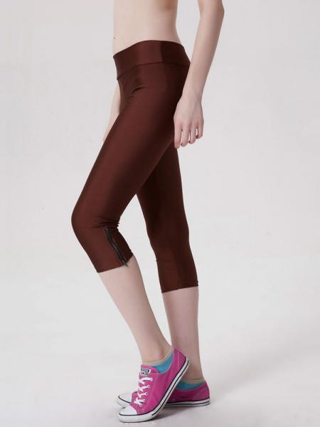 Brown Womens Stretchy Fluorescent Side Zipper Mid Length Capri Leggings