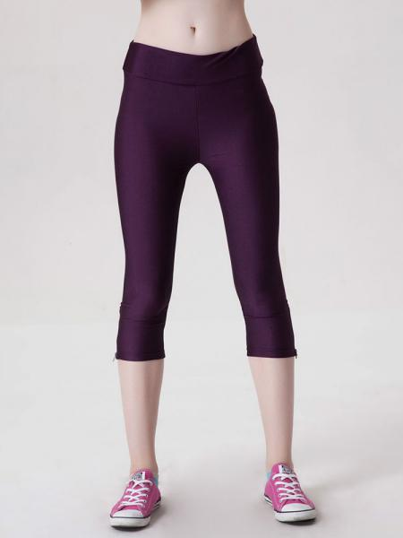 Purple Womens Stretchy Fluorescent Side Zipper Mid Length Capri Leggings