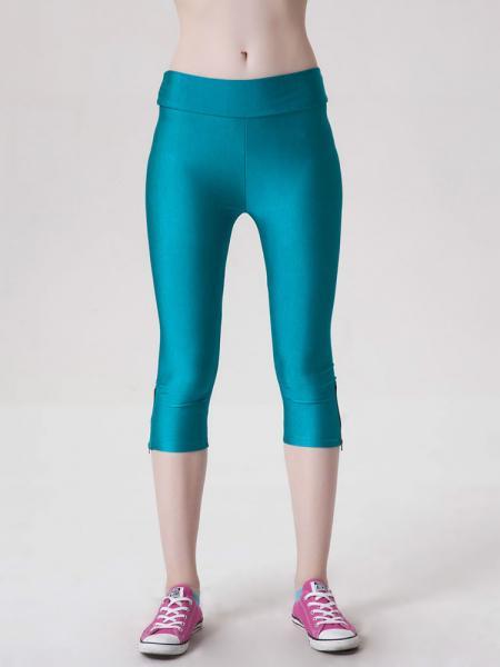 Wathet Womens Stretchy Fluorescent Side Zipper Mid Length Capri Leggings